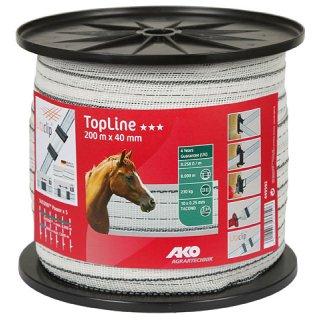 TopLine Plus Weidezaunband 200m - 40mm weiß-schwarz