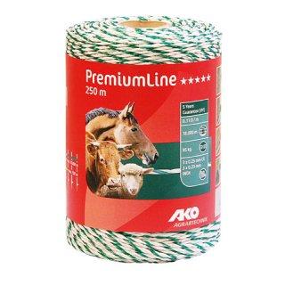 PremiumLine Weidezaunlitze 250m weiß-grün